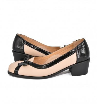 Pantofi din piele cu toc scurt relax051
